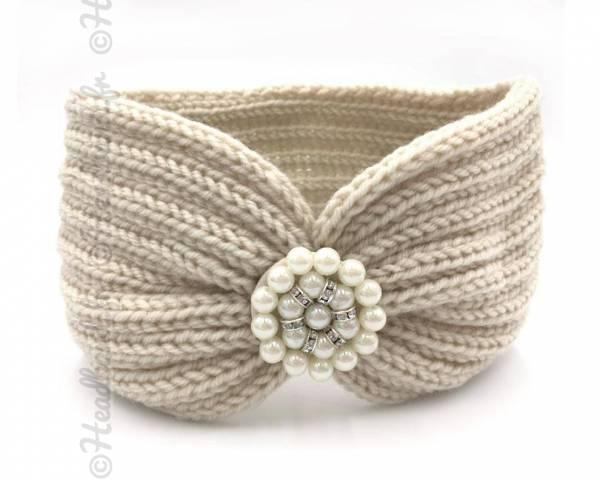 Bandeau laine applique perlée beige