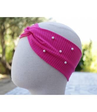 Turban stretch côtelé à perles fushia