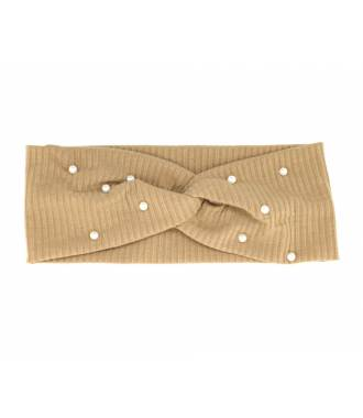 Turban stretch côtelé à perles kaki