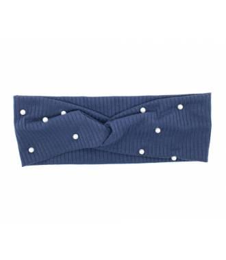 Turban stretch côtelé à perles bleu