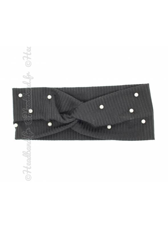 Turban stretch côtelé à perles noir