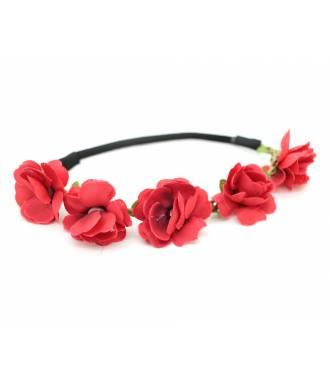 Headband guirlande fleur rouge