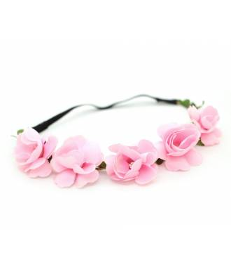 Headband guirlande fleur rose clair