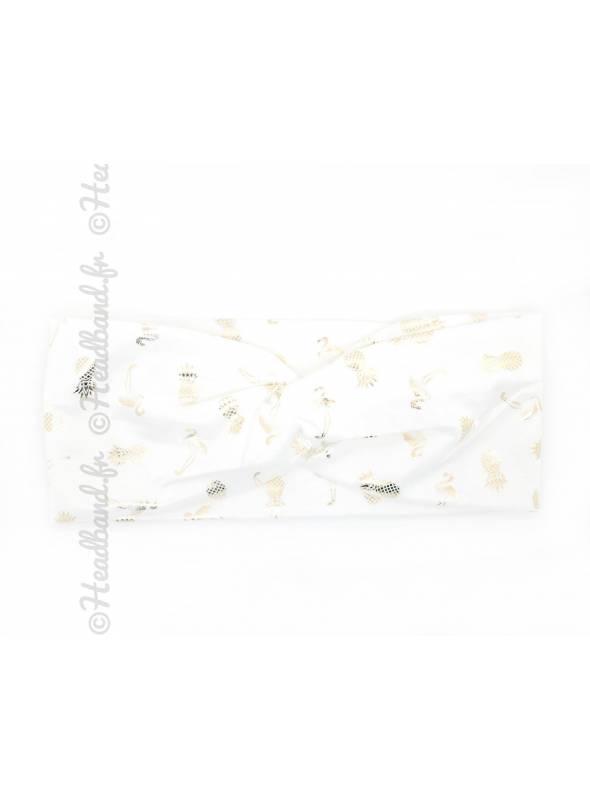 Turban blanc motifs ananas et flamand rose
