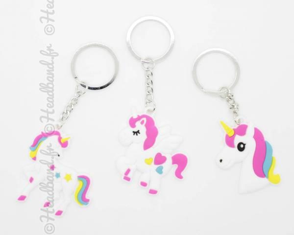 Porte-clés licorne 3 motifs au choix