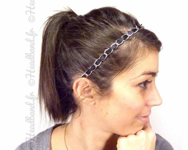 Headband maillon argenté
