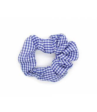 Chouchou imprimé vichy bleu roi