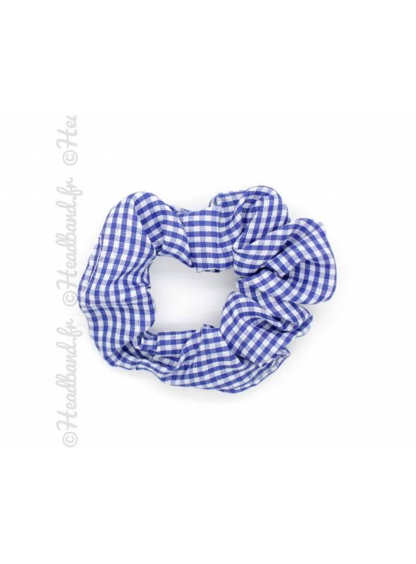 Chouchou 7 cm imprimé vichy bleu roi