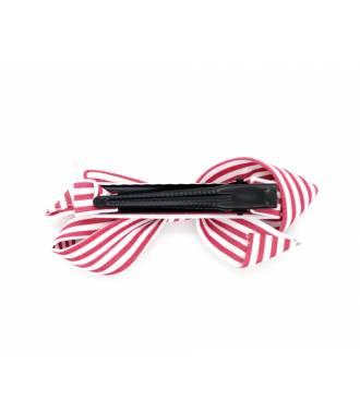 Barrette à rayures rouge pince clip 6 cm