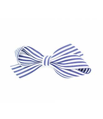 Barrette à rayures bleu pince clip 6 cm