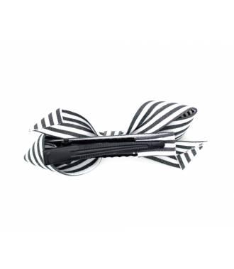 Barrette à rayures noir pince clip 6 cm