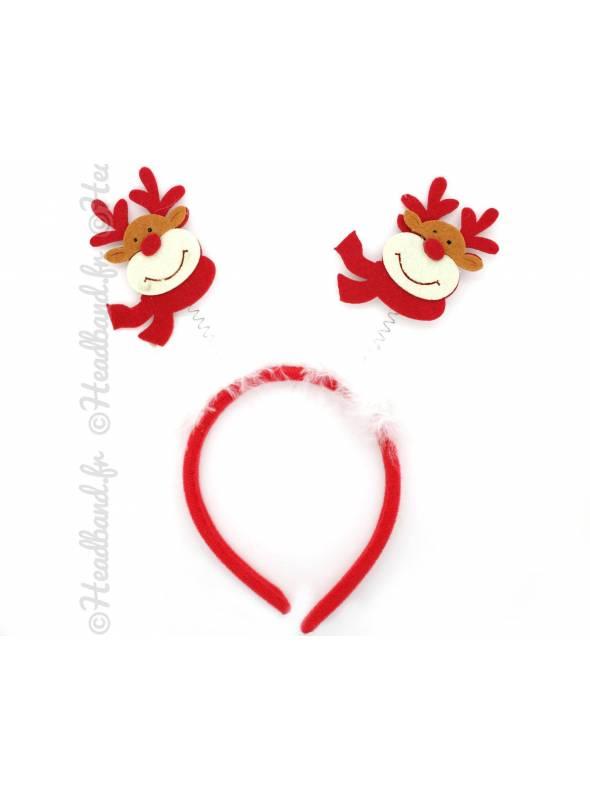Serre-tête feutrine décoration de Noël rennes