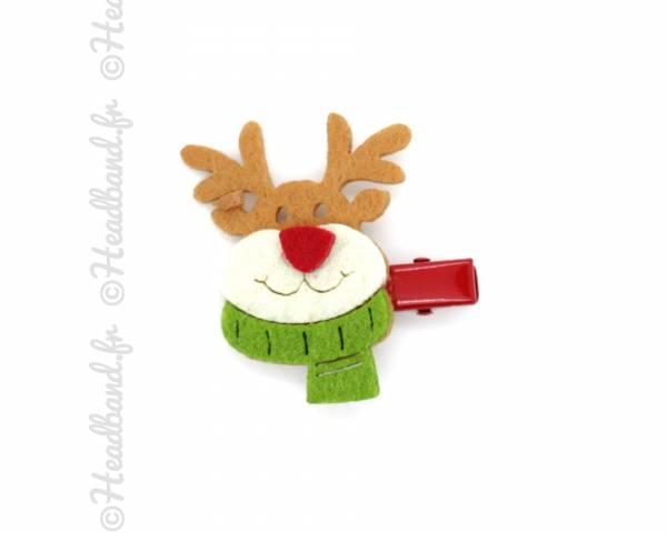 Barrette de Noël enfant motif renne