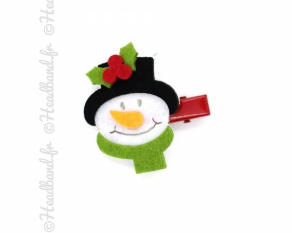 Barrette de Noël motif bonhomme de neige