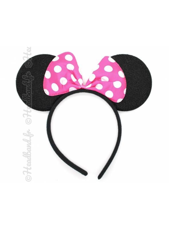 Serre-tête oreilles Minnie noeud pois fushia