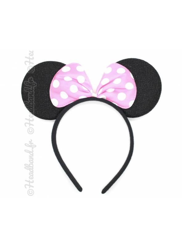 Serre-tête oreilles Minnie noeud pois rose clair
