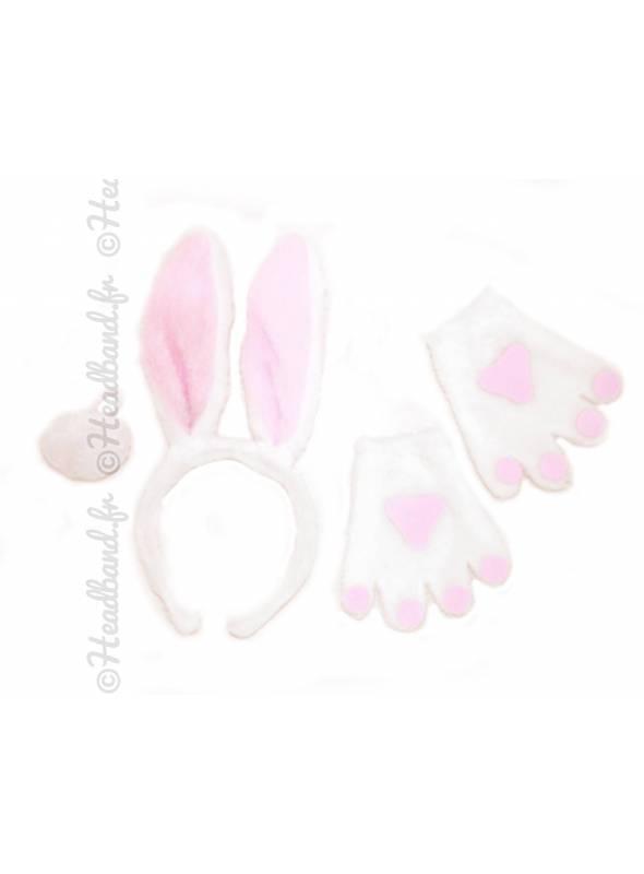 Serre-tête mitaines et queue de lapin enfant