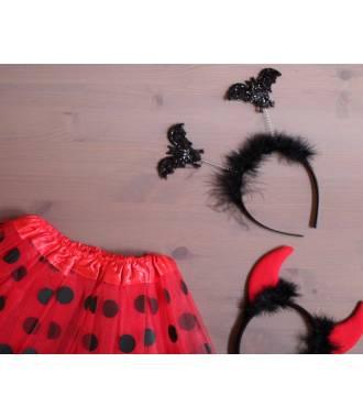 Serre-tête halloween diable rouge et noir