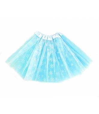 Tutu bleu en tulle avec motif flocons pailletés
