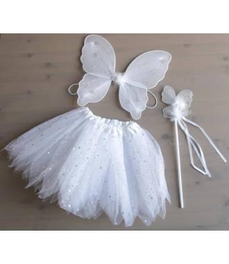 Lot de tutu aile de papillon et baguette blanc