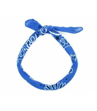 Bandana à nouer motif bleu roi paisley
