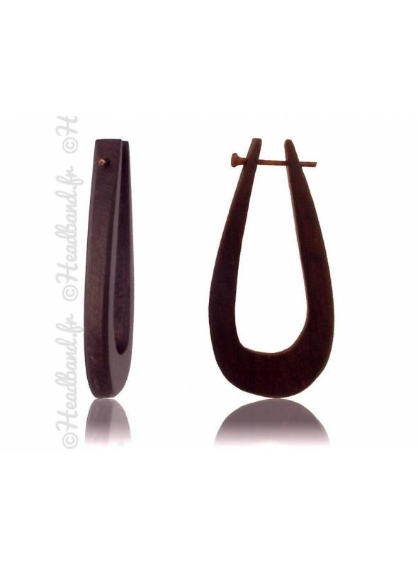 Boucles d'oreilles fermoir tige bois forme goutte