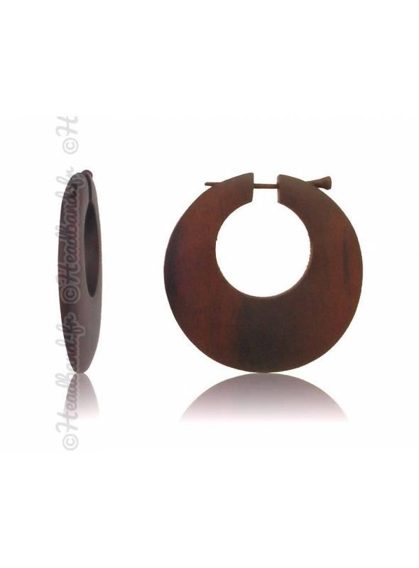 Boucles d'oreilles fermoir tige bois forme ronde