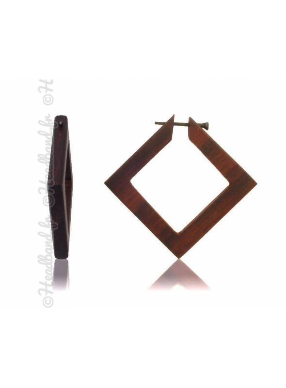 Boucles d'oreilles fermoir tige bois forme carré