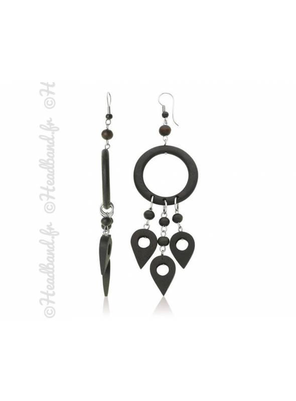 Boucles d'oreilles motif Maori bois noir