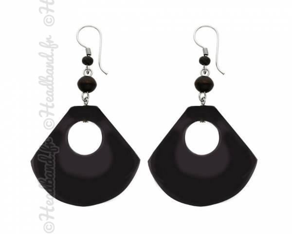 Boucles d'oreilles épaisses en bois noir