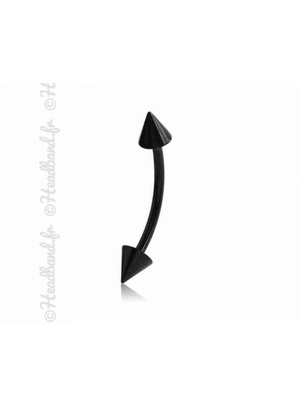 Piercing arcade pique noir 10 mm