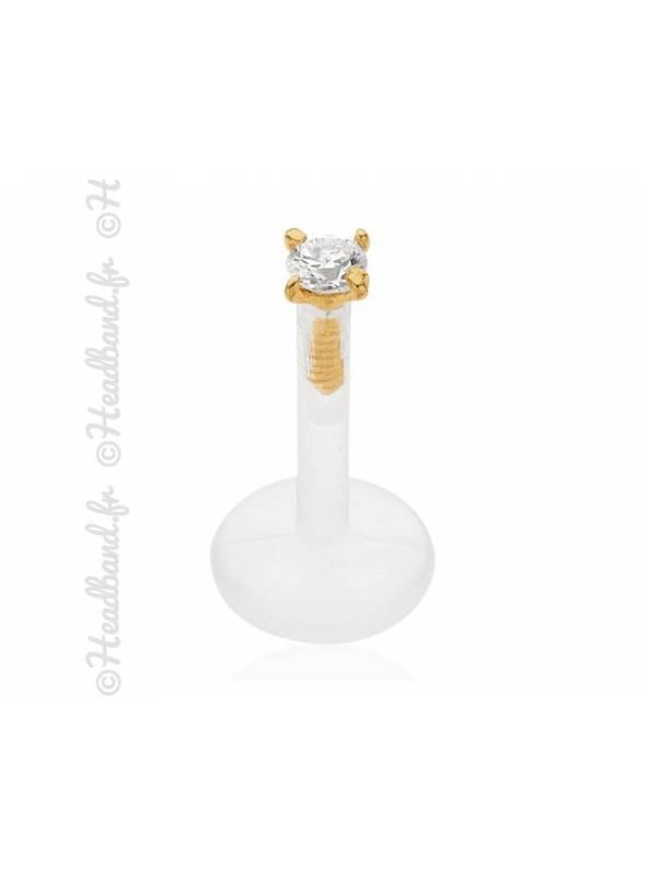 Piercing labret strass blanc or jaune 18K