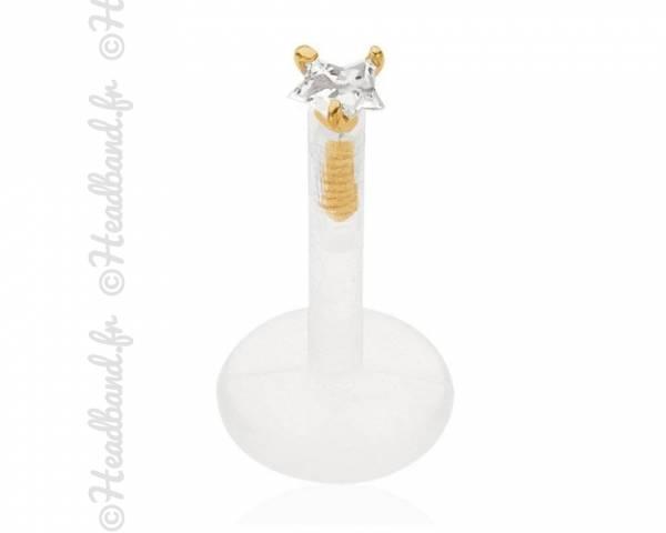 Piercing labret strass étoile or jaune 18K