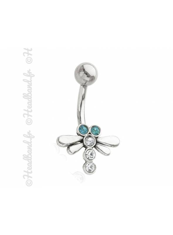 Piercing nombril libellule strass bleu