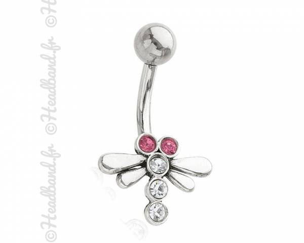 Piercing nombril libellule strass rose