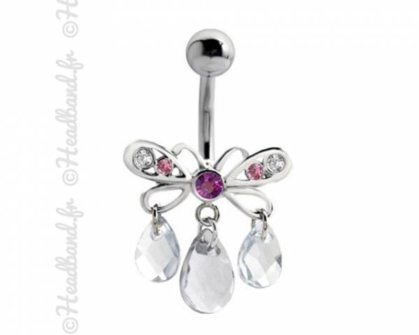 Piercing nombril papillon pampilles rose