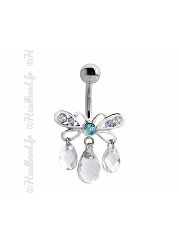 Piercing nombril papillon pampilles bleu
