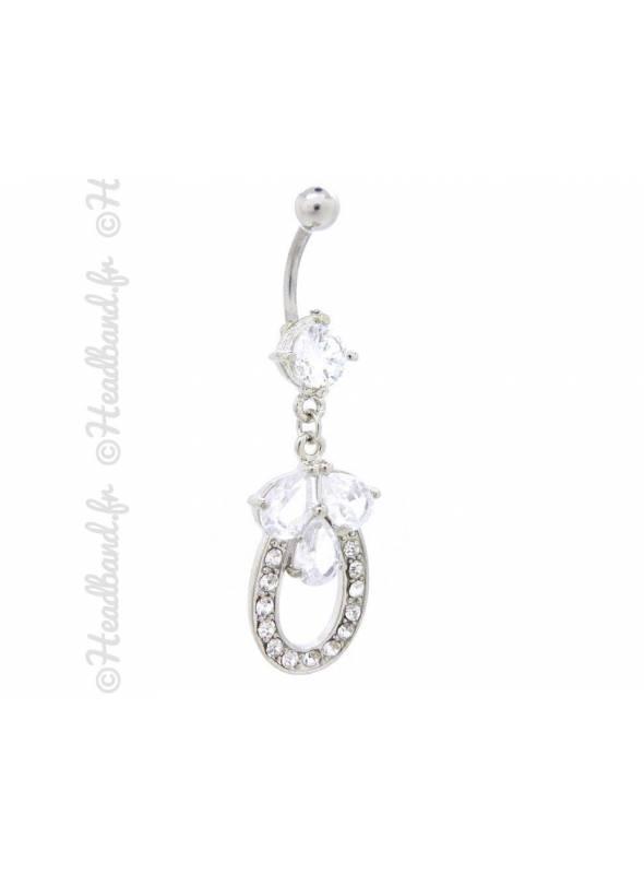 Piercing nombril cristaux épi pendentif blanc