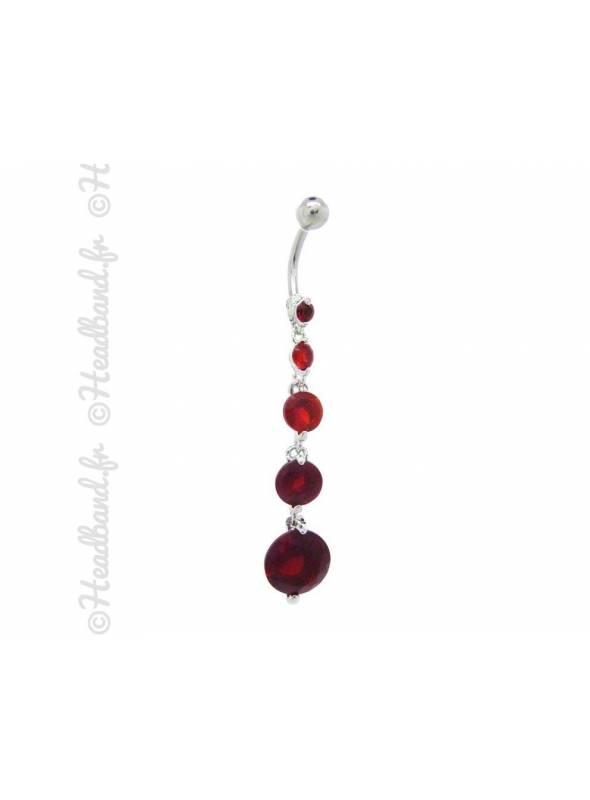 Piercing nombril pendentif stud rond rouge