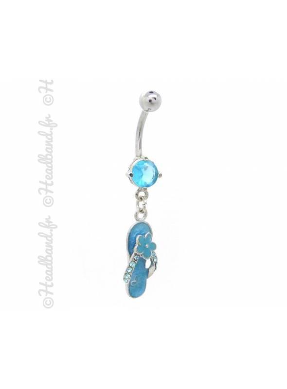 Piercing nombril cristal bleu tong