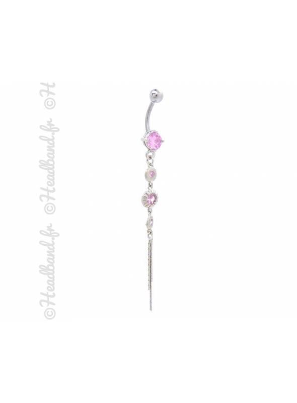 Piercing nombril chaînette stud rose