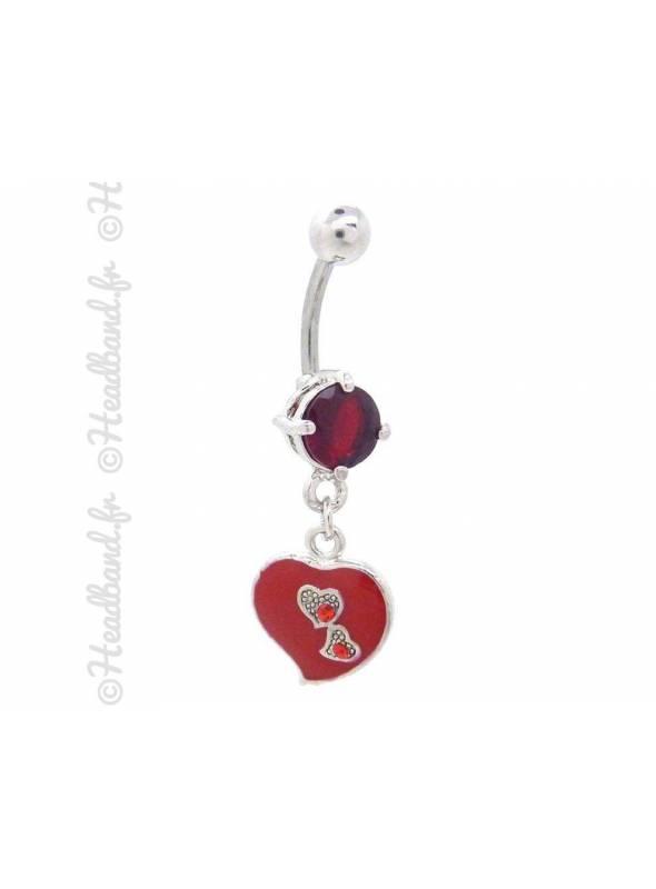 Piercing nombril cœur émaillé rouge