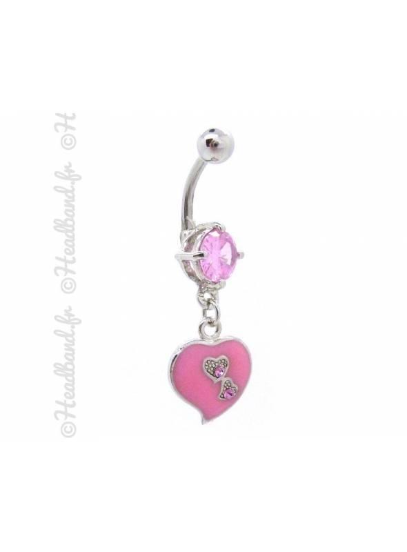 Piercing nombril cœur émaillé rose