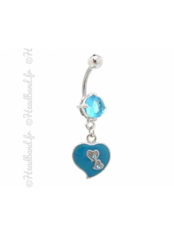 Piercing nombril cœur émaillé bleu