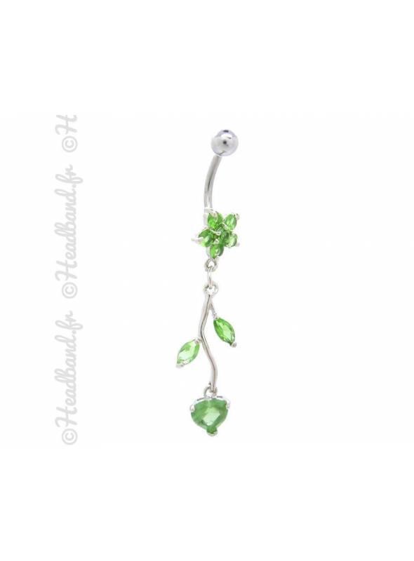 Piercing nombril branchage articulé vert