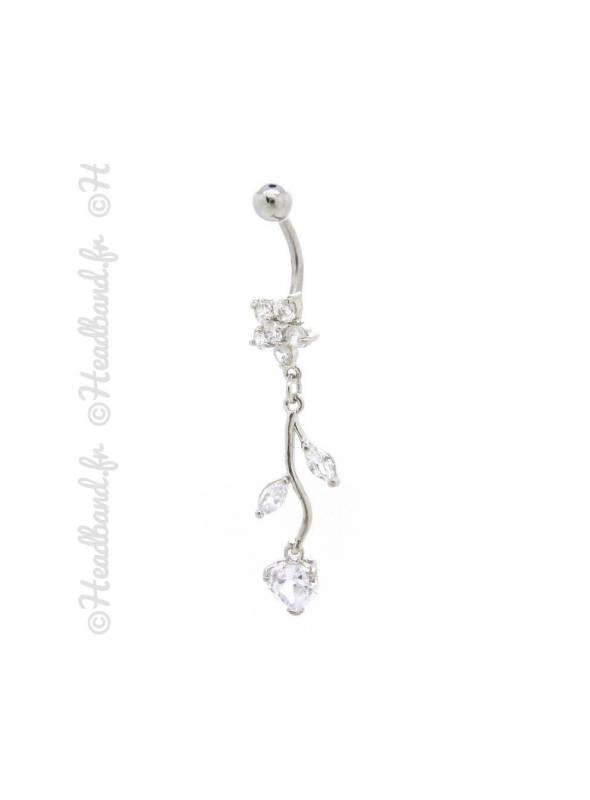 Piercing nombril branchage articulé blanc