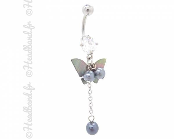 Piercing nombril papillon perlé gris