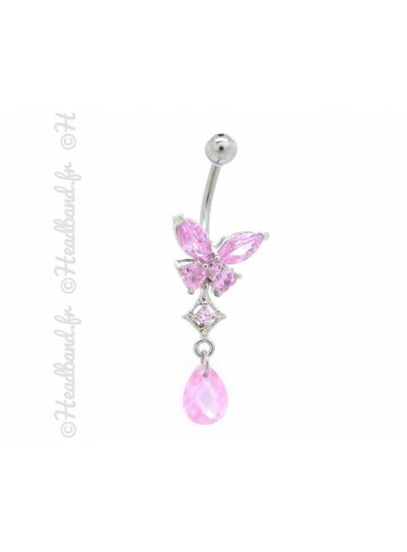 Piercing nombril butterfly strass rose