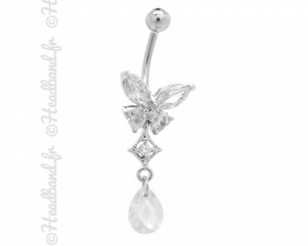Piercing nombril butterfly strass blanc