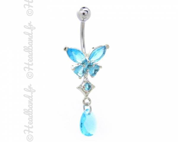 Piercing nombril butterfly strass bleu